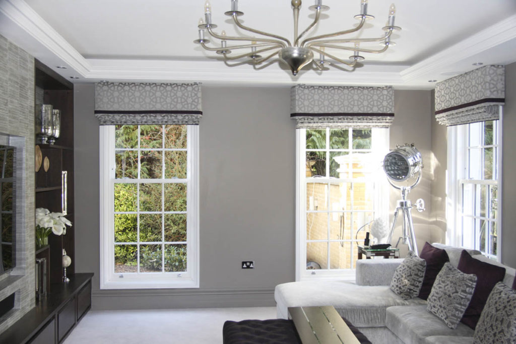 Heritage sash windows in a renovated Edwardian sitting room very modern and traditional at the same time