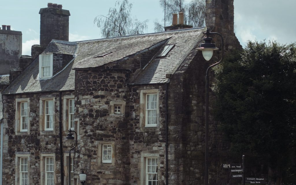 Sash and case windows in a traditional Scottish cottage