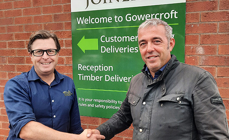 New Partnerships Manager Peter Buckley is welcomed on boa rd by Gowercroft Joinery?s H ead of Sales, Joe Grimley